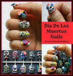 Sugar Skulls. Fake Nails Mexican Folk Art by Nevertoomuchglitter