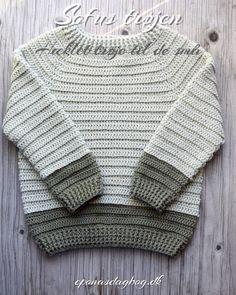 Gratis opskrift på lækker hæklet forårstrøje Crochet Men, Crochet Baby Sweaters, Crochet Baby Clothes, Crochet For Boys, Love Crochet, Baby Boy Knitting Patterns, Baby Patterns, Crochet Patterns, Baby Boy Sweater