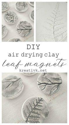 Most current Screen Air dry Clay art Tips DIY Air Drying Clay Leaf Magnets – Northern Feeling Craft Clay, Diy Clay, Homemade Clay, Diy With Clay, Diy Crafts Clay, Homemade Magnets, Tile Crafts, Mason Jar Crafts, Mason Jar Diy
