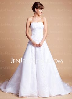 Wedding Dresses - $119.69 - A-Line/Princess Strapless Court Train Satin Tulle Wedding Dresses With Ruffle Lace Beadwork (002012659) http://jenjenhouse.com/A-line-Princess-Strapless-Court-Train-Satin-Tulle-Wedding-Dresses-With-Ruffle-Lace-Beadwork-002012659-g12659