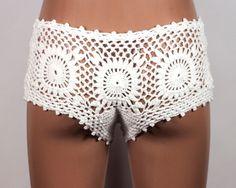 Crochet Bikini Bottom Crochet Shorts Lace Shorts by LoveKnittings