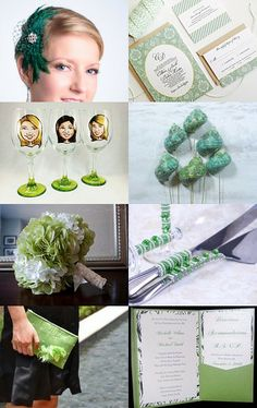 So pretty!  Green Wedding Collection by parsi on Etsy.