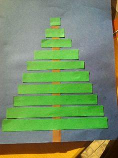 Kerstboom van stroken. Groep 2. Van klein naar groot.