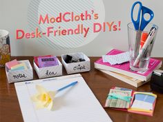 DIY Projects with common office supplies! Must put post-it flowers on all my pens!