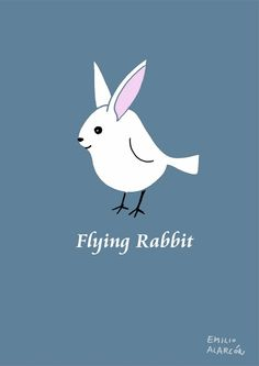 Flying rabbit. Conejito volador. Illustration by Emilio Alarcón.