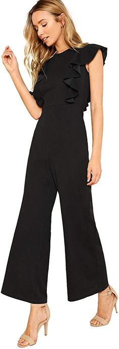Looking for ROMWE Women's Sexy Casual Sleeveless Ruffle Trim Wide Leg High Waist Long Jumpsuit ? Check out our picks for the ROMWE Women's Sexy Casual Sleeveless Ruffle Trim Wide Leg High Waist Long Jumpsuit from the popular stores - all in one. Dressy Jumpsuit Wedding, Jumpsuit Dressy, Lace Jumpsuit, Jumpsuit Outfit, Jumper Outfit, Romwe, Long Jumpsuits, Jumpsuits For Women, Long Romper