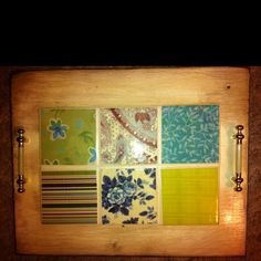 Serving tray made from tile and scrapbook paper affixed to an old cabinet door.