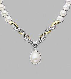 Freshwater Pearl and Diamond Necklace | Elder-Beerman