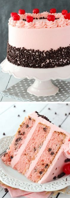 Cherry Chocolate Chip Cake - full of maraschino cherry flavor and mini chocolate chips!