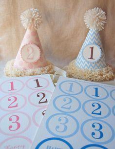 blue chevron party hat pattern + pink spot party hat pattern