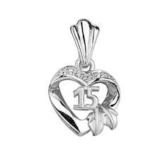 .925 Sterling Silver Rhodium Plated CZ Quincenera Sweet 15 Heart Charm Pendant GoldenMine. $23.00. Promptly Packaged with Free Gift Box...Perfect for Gift Giving. This item showcases the finest Sterling Silver available today!. Special manufacturing process held to ensure less wear and tarnish. Rhodium coated for more shine.. Save 62% Off!