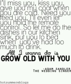 The Wedding Singer movie quote. Adam sandler.... I want to find love like this. Just the simple stuff