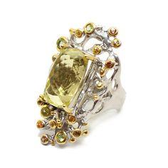 Ring mit Lemonquartz Brooch, Jewellery, Fashion, Sapphire, Stones, Silver, Ring, Schmuck, Moda