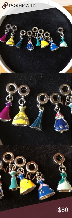 princess charms Pandora- style charms. NO BRAND NO STAMP. This includes all princesses. Anna Elsa SnowWhite belle jasmine repunzel Ariel and Cinderella. WILL ONLY SELL 4 AT A TIME. The more bought better discounts. Jewelry