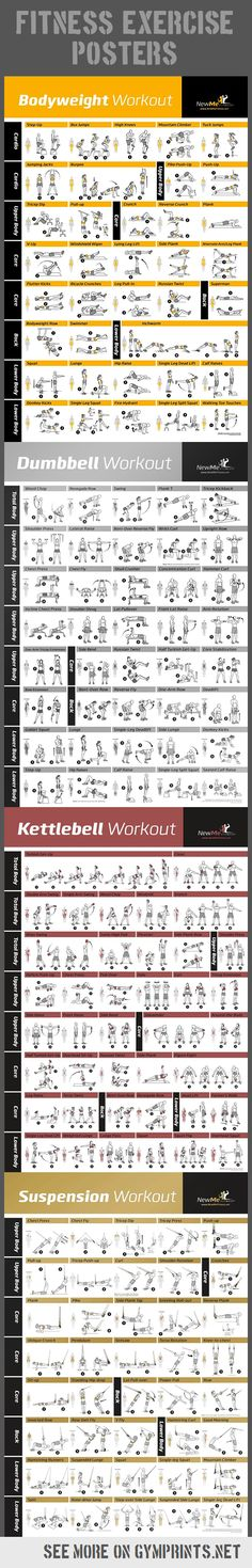 Fitness Workouts Posters https://www.kettlebellmaniac.com/kettlebell-exercises/