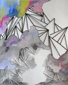 Stitched fibers on paper, by Jenna Decker. Fiber art, embroidery, abstract, watercolor painting, geometry, neon, triangle, gray