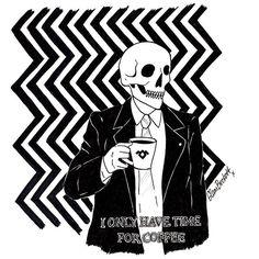 WEBSTA @ glambeckett - ☕️#illustration #drawing #sketch #ink #blackink #darkartists #lowbrow #lowbrowart #lineart #blackwork #punk #death #skull #skeleton #coffee #twinpeaks #davidlynch #ionlyhavetimeforcoffee #damnfinecupofcoffee #blackandwhite #twinpeaksart