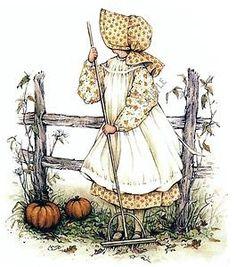 Holly Hobbie, rake and pumpkins