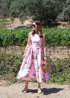 Pink Floral Midi Fit Flare Dress