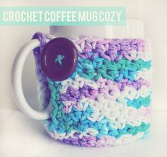 I really need to learn crochet because I love mug cozies! I don't have one yet but I've seen the neatest ones. This one has the link to the free pattern. #crochet