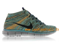 Officiel Nike Free Flyknit Chukka Chaussures Nike Running Pour Homme Mineral Teel/Dark Obsidian-Hyper Jade-Copper 639700-301