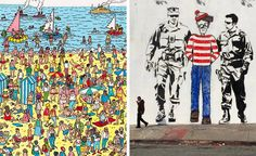 """An example of a """"Where's Waldo"""" book art at left, with graffiti by HiJack at right, showing Waldo found and apprehended."""