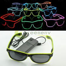 Fashion El Wire Neon LED Light Up Shutter Shaped Glasses for Rave Costume Party
