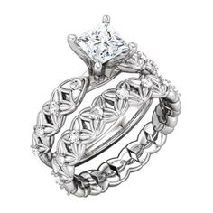 Platinum Classic Sculptural Semi Mount Engagement Base With Matching Sculptural Eternity Band - OUR PRICE: $1,999.99 - http://www.mybridalring.com/Rings/sculptural-semi-mount-matching-eternity-band/