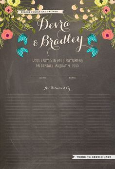 Wedding Certificate, Quaker Marriage Certificate, Wedding Guest Print - Whimsical Florals Chalkboard Background