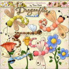 Dragon Flowers 1 - Digi Web Studio Clip Art Download by Trina Clark for Personal & Commercial Use