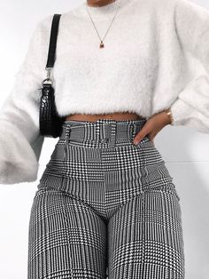 Presley Gingham Check Matching Buckle Belted Trousers In Mono Presley Gingham Check Matching Buckle Belted Trousers In Mono Model Height - Model wears size UK 8 Uni Outfits, Trouser Outfits, Winter Fashion Outfits, College Outfits, Mode Outfits, Girly Outfits, Cute Casual Outfits, Look Fashion, Stylish Outfits