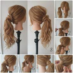 """119 Likes, 7 Comments - 黒石 純 (@dangomusi_kuro_jun) on Instagram: """"1ランク上の大人のポニーテール 1. 耳から前を残して、後ろの髪を1つに結ぶ。 2. 残したサイドの髪を、後ろで結んだ髪の下側から巻きつける。 3. 巻きつけるときに毛束をねじる。…"""""""