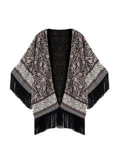 Kimono Style Open Placket Tassel Blouse For Women
