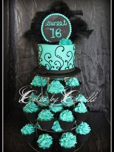 Chic Sweet 16 Cupcake tower