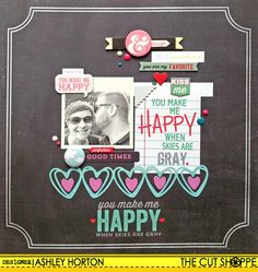 You Make Me Happy - Scrapbook.com- made using the Hello Sunshine collection from Pink Paislee.
