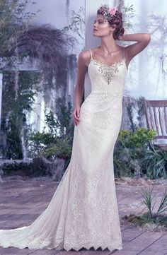 V-Neck Sheath Wedding Dress  with Natural Waist in Lace. Bridal Gown Style Number:33457292