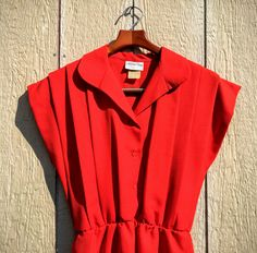 Vintage 80s 1980s Edgy Poppy Red Bombshell Rocker Chic Dress L XL by…