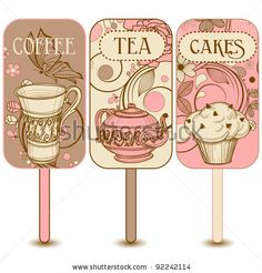 stock vector : Coffee, tea and cakes labels