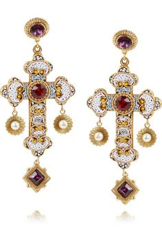Shop for Gold-plated Swarovski crystal cross clip earrings by Dolce    Gabbana at ShopStyle. 43a582ee069ff