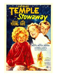 Shirley Temple movies | Stowaway, Shirley Temple, Alice Faye, Robert Young, 1936 Premium ...
