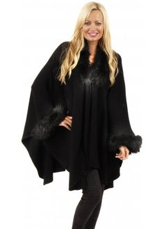 Urban Mist Aspen Black Faux Fur Trimmed Poncho