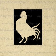 Rooster Silhouette Cutout Image Digital Printable Farm Animal Graphic Download Vintage Clip Art. Digital graphic image for iron on transfers, printing, and more great uses. Antique artwork. This digital graphic is high quality, high resolution at 8½ x 11 inches. Transparent background PNG version included.