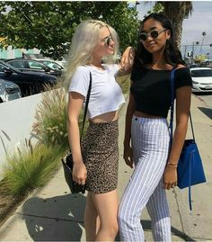 fashionable friends, women's fashion, spring/summer styles, stripe pants, crop tops, photoshoot, fun with friends