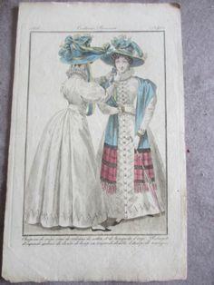 Hat, stole and parasol. Gravure DE Mode Costumes Parisiens Année 1826 | eBay