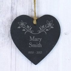 Personalised In Loving Memory Floral Slate Heart Decoration, Bereavement, Memorial Ornament, Persona In Loving Memory Gifts, Personalized Memorial Gifts, Wedding Gift Boxes, Table Wedding, Special Symbols, Memorial Ornaments, Bridesmaid Clutches, Fool Gold, Heart Decorations