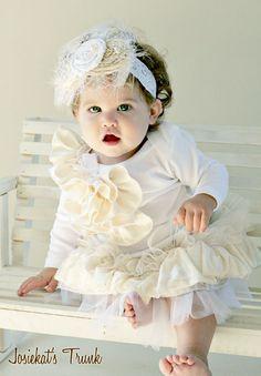 Diadema velo blanco marfil bebé mezcla de seda y por josiekatstrunk