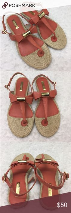Louise et Cie Coral Thong Sandals with Bow EUC, worn once - adorable Coral thing sandals. These are perfect for Spring and Summer and the beach. The gold hardware accentuates these beautiful Coral shoes perfectly! louise et Cie Shoes Sandals