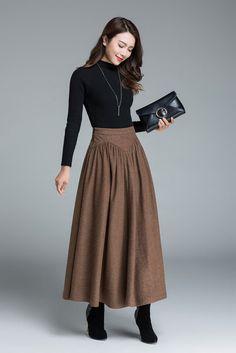 brown wool skirt long skirt warm skirt designer's by xiaolizi