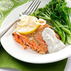 Salmon with Creamy Dill Sauce Recipe -There's nothing like fresh salmon, and my mom bakes it just right so it nearly melts in your mouth. The sour cream sauce is subtly seasoned with dill and horseradish so that it doesn't overpower the delicate salmon flavor. —Susan Emery, Everett, Washington