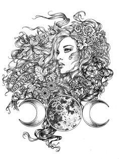 Goddess - The Seasons by LKBurke29 on deviantART - triple moon